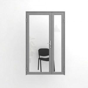 Двойная, двупольная офисная дверь со стеклом