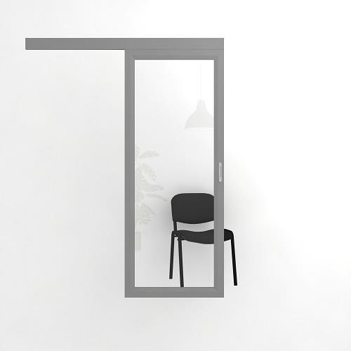Откатная прозрачная дверь в алюминиевой раме