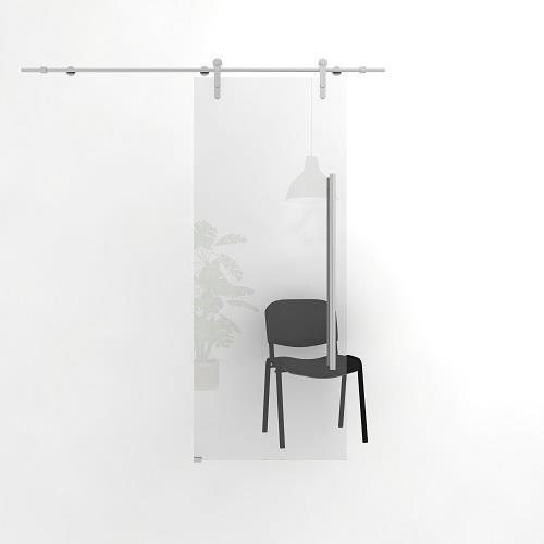 Цельностеклянная откатная прозрачная дверь