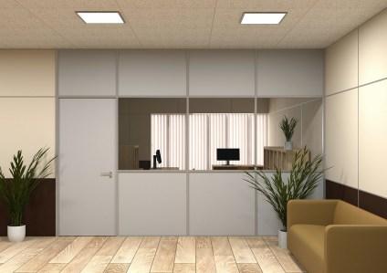 Комбинированная офисная перегородка 78 система