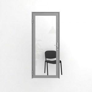 Остекленная офисная дверь: одинарное прозрачное стекло