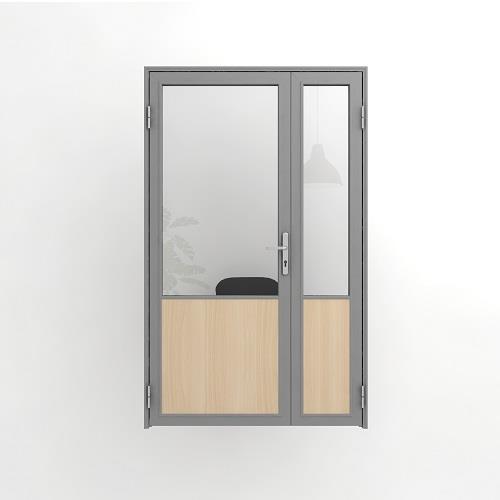 Дверь офисная, двустворчатая, комбинированная