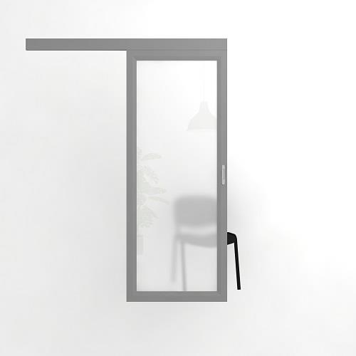 Раздвижная откатная офисная дверь, матовое стекло в алюминиевой раме